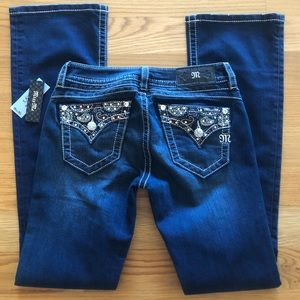 NWT $99~ MISS ME ~PAISLEY Signature Boot Jeans~27